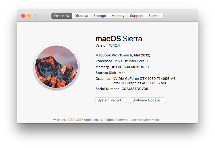 nvidia geforce gt 650m driver high sierra